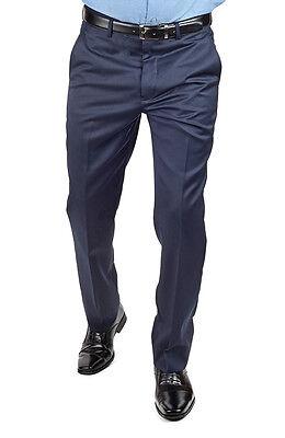 Tailored Slim Fit Navy Blue Separate Dress Pants Slacks Flat Front By AZAR - Tailored Dress Pants