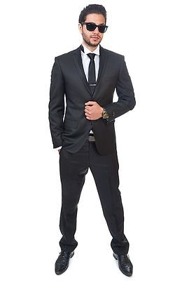 Slim Fit Suit Black Tuxedo 2 Button Trim Collar Fitted Flat Front Pants By AZAR ()