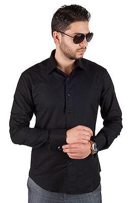 Black Tailored Slim Fit Men's French Cuff Dress Shirt Spread Collar By AZAR MAN Black French Cuff Shirt