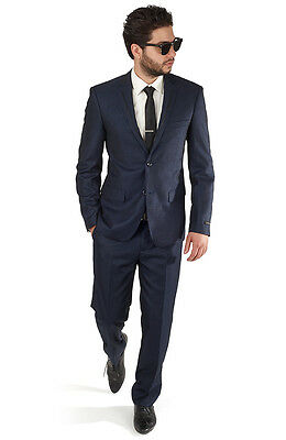 Slim Fit Trim Navy Blue Men's Tuxedo Suit 2 Button Flat Front Pants By AZAR MAN ()