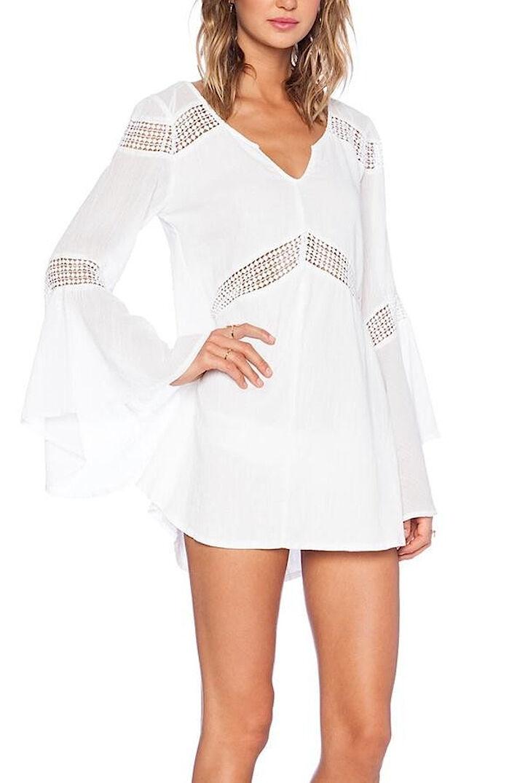 Vestito Copricostume Donna con Pizzo Maxi Dress Woman Cover up with Lace 110070