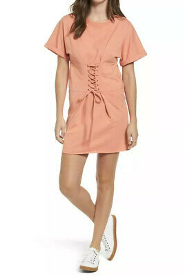 New Nordstrom BP Corset T Shirt Dress XS Lace Up Coral New casual short