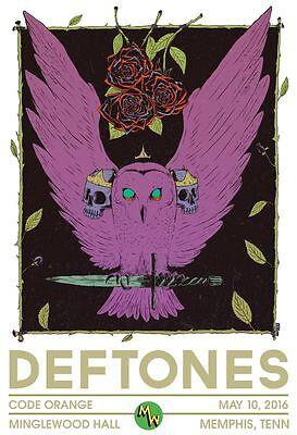 DEFTONES 2016 MEMPHIS CONCERT TOUR POSTER-Alt./Art Metal,Experimental Rock Music