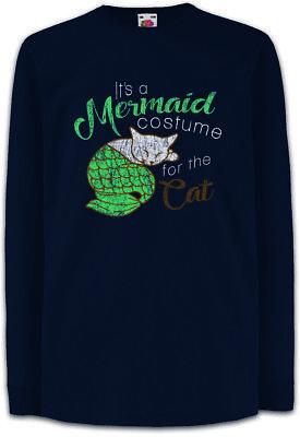Modern Mermaid Cat Kinder Langarm T-Shirt Family Katze Meerjungfrauen Kostüm ()