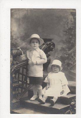 Edwardian Boy & Bay Girl in Hats Vintage RP Postcard Children 585a