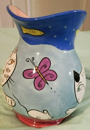RARE VTG Chaleur/Karen Gelff/Happy Dog & Cat Pitcher