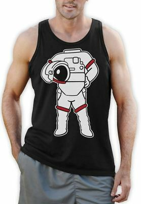 Astronaut Easy Costume - Funny Space Suit Print Singlet Sleeveless Shirt S - 2XL