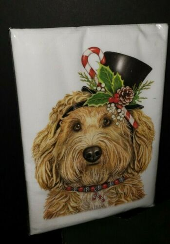 Mary Lake Thompson Christmas LABRADOODLE Top Hat  Kitchen Flour Sack Towel NIP