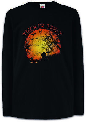 r Langarm T-Shirt Graveyard Halloween USA Creature Kürbis (Trick Or Treat Halloween Kinder)