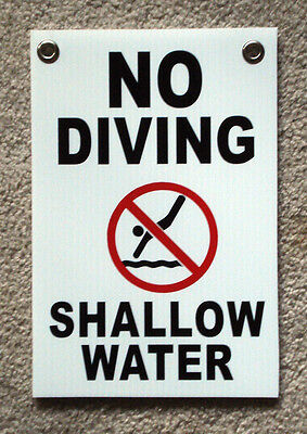 No Diving Shallow Water W Symbol 8 X12 Plastic Coroplast Sign With Grommets