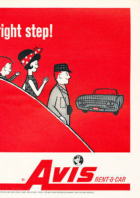 1962 Avis Rental Ford 2 Page Cartoon   Vintage Advertisement Car Print Ad J471