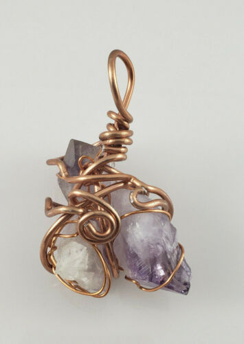 Amethyst Healing Stone Crystal Pendant with Copper Wire