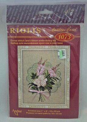 RIOLIS CROSS STITCH KIT 1073 Pink Ribbon Flowers Bouquet Emb