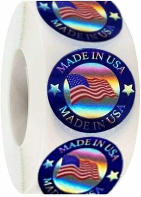 Made In Usa Hologram Flag Labels 1-inch Round American Flag Stickers 2 Colors.
