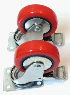 Lot Of 2 4 Inch Heavy Duty Polyurethane Brake Locking All Swivel Caster Wheels