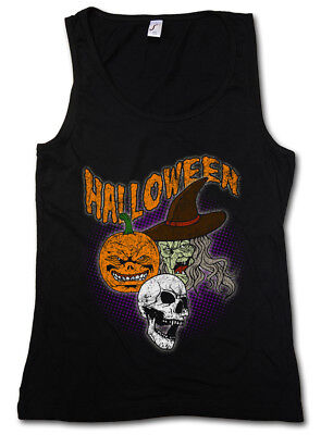 HALLOWEEN FACES WOMEN TANK TOP Witch Moon Halloween Pumpkin Face Death Dead (Halloween Moon Faces)