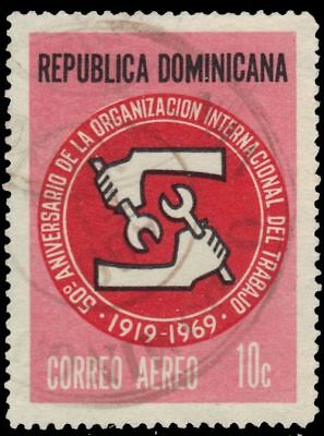 DOMINICAN REPUBLIC C168 - Intl. Labor Organization 50th Anniversary (pa78268)