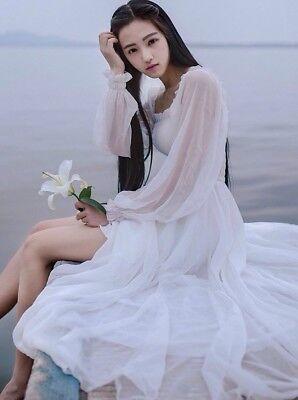 Womens Fairy Dress (Women's Victorian Gothic Vintage White Dress Ruffle Lolita Elegant Fairy)