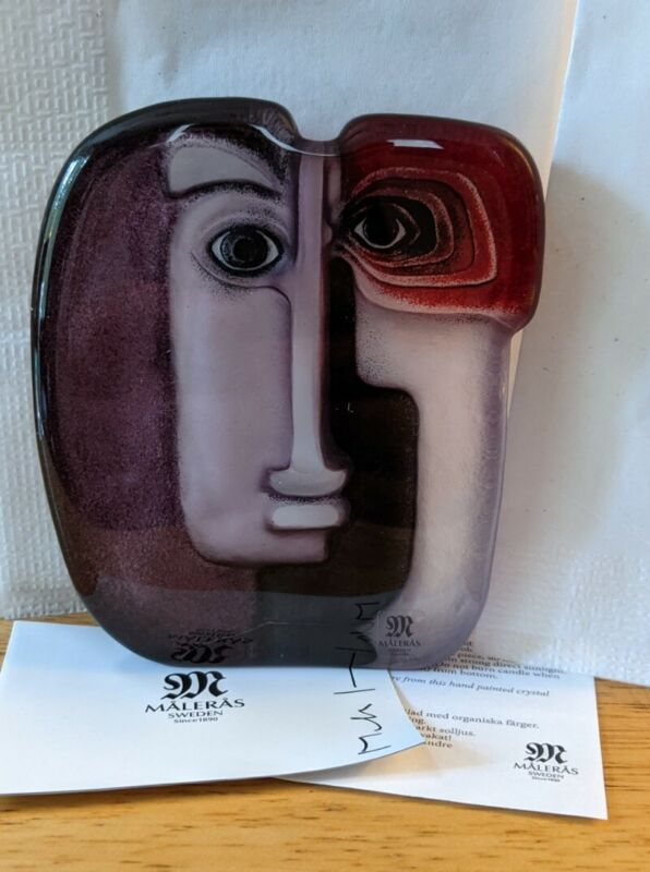 Ideo Red Etched Crystal Masq Sculpture Mats Jonasson Paperweight Art Glass