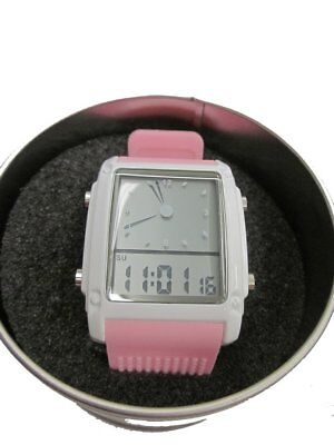 Three Vitka Time Pink Dual Hybrid Digital Analog Display Watch Rubber Band