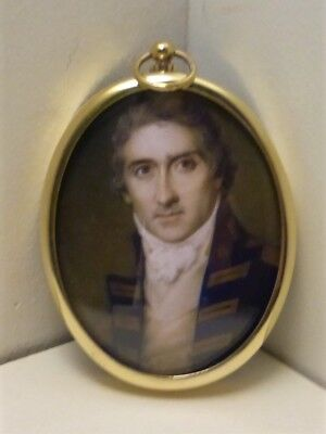 Portrait Miniature of Captain Riou, set in an oval brass frame
