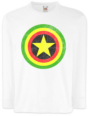 Captain Rasta Kinder Langarm T-Shirt Fun Comic Bob America Shield Reggae Irie ()
