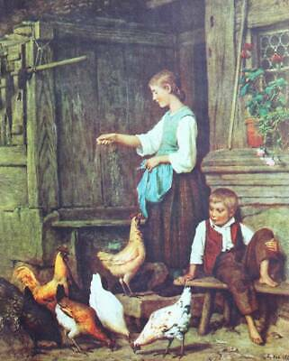 Mother And Son In Barnyard Feeding Chickens By Albert Anker - $15.95