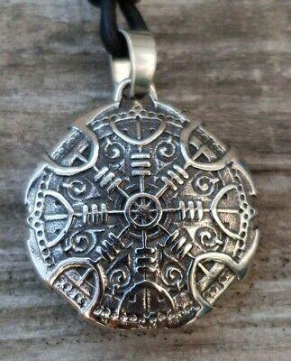 Anhänger Runen Aegishjalmur K10.14 Odin Edelstahl Lederband Wikinger Vegvisir  (10 K Anhänger)