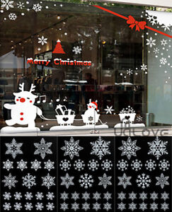 114x REUSABLE WHITE CHRISTMAS SNOWFLAKES WINDOW STICKERS SELF CLINGS Decor UK
