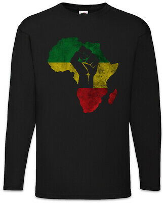 African Fist Long Sleeve T-Shirt Rasta Babylon Irie Ska Reggae Africa Rastafari
