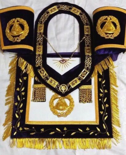 HAND EMBROIDERY MASONIC GRAND MASTER APRON WITH CUFF, CHAIN COLLAR AND JEWEL