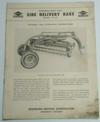 .. 1952 Ford Tractor Dearborn Side Delivery Rake Operating Assembly Manual