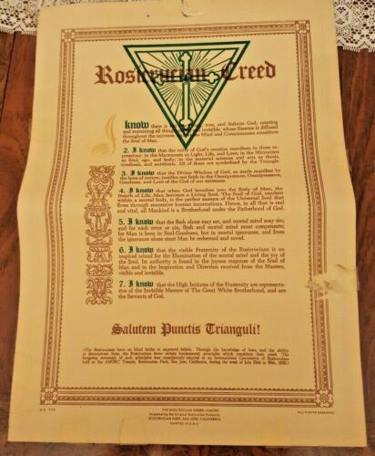 Vintage Rosicrucian CREED 14x10-VERY Rare-Printed in Rosicrucian Park, CA