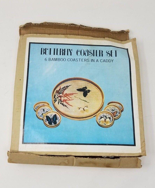 Vintage bambou papillon dessous de verre set couches art glacé thé cocktail bac