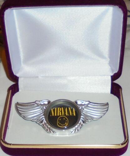 NIRVANA Cobain Grunge Rock Shock Metal Band Wing LConcert Hat Jacket Badge Pin