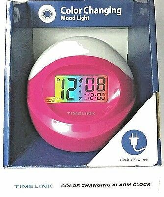 TimeLink Color Changing Electric Alarm Clock w/Press Anywhere Snooze Pink/White