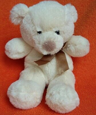 """Cuddles Time Cream Teddy Bear Soft Toy with Gold Ribbon 9"""""""