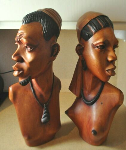 """One Pair Nude Busts Male & Female *Hand-Carved Wood Sculptures 18"""""""