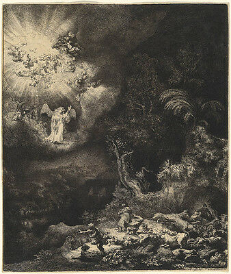 Rembrandt Reproductions: The Angel Appearing to the Shepherds -  Fine Art Print