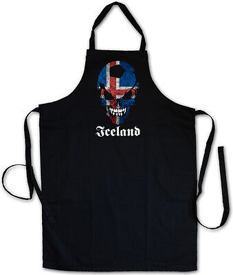 ICELAND FOOTBALL SOCCER SKULL GRILLSCHÜRZE KOCHSCHÜRZE - Fan Hooligan Fußball