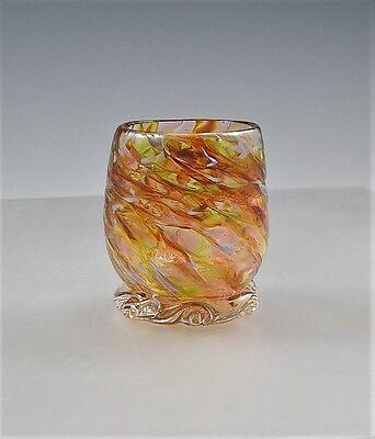 Glassware/Votive USA Hand Blown Art Glass (Apricot/Gold)