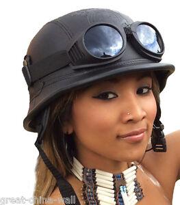 Chopper Biker Helm Gr.L schwarz OHNE Logo BULZEYE Wehrmacht Motorrad mit Brille
