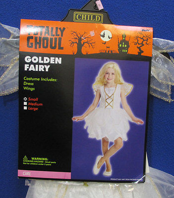 Golden Fairy Princess Halloween Costume White Dress Wings Girls Size Small ()
