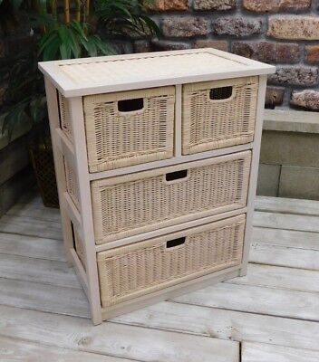 Used, Brand New Handwoven Wicker & Wood Deluxe Four Drawer Chest for sale  Ledgewood