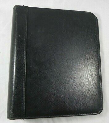 Franklin Quest Pre- Covey Black Top Grain Leather Classic-sized Binder 1.5