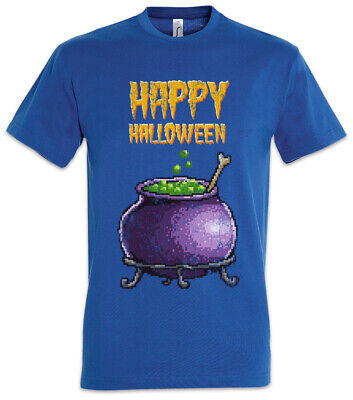 Pixel Happy Halloween T-Shirt Gamer Gaming Games Geek Nerd Fun Witch Pot Kettle (Happy Halloween Gaming)