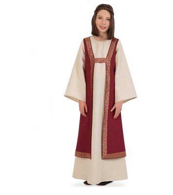 Mädchen Mittelalter Kostüm (Kleid Burgund, Kinder-Kostüm Mittelalter-Mädchen-Kleid, rot gold beige 12213313F)