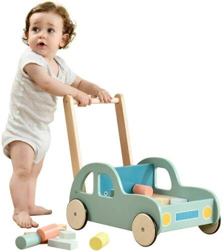 Jolie Vallee Baby Walker with Wheel, Green Car Blocks Trolley, Kids Push & Pull
