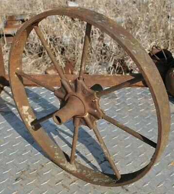 Vintage Wheelbarrow Yard Art Industrial Rail Road Cart Spoked Wheel