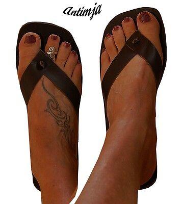Sandalen Hippie (Sandale Zehentrenner Glattleder Sommer Sandale Hippie Goa Trance Mittelalter)